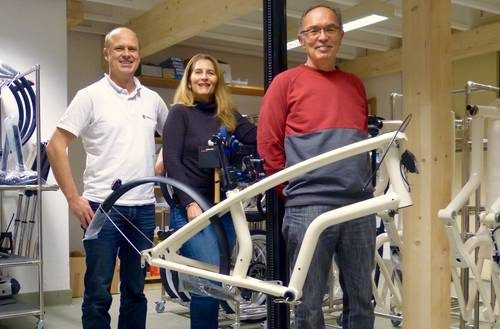 v.l.n.r.: K. Späte (YouMo, CEO), E. Casal (WTL, Geschäftsleiterin), A. Häring (WTL, Leiter 2Rad-Atelier)